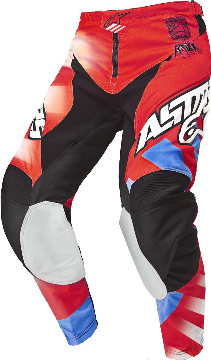 Pantaloni cross Alpinestars Racer Braap Rosso Blu Bianco