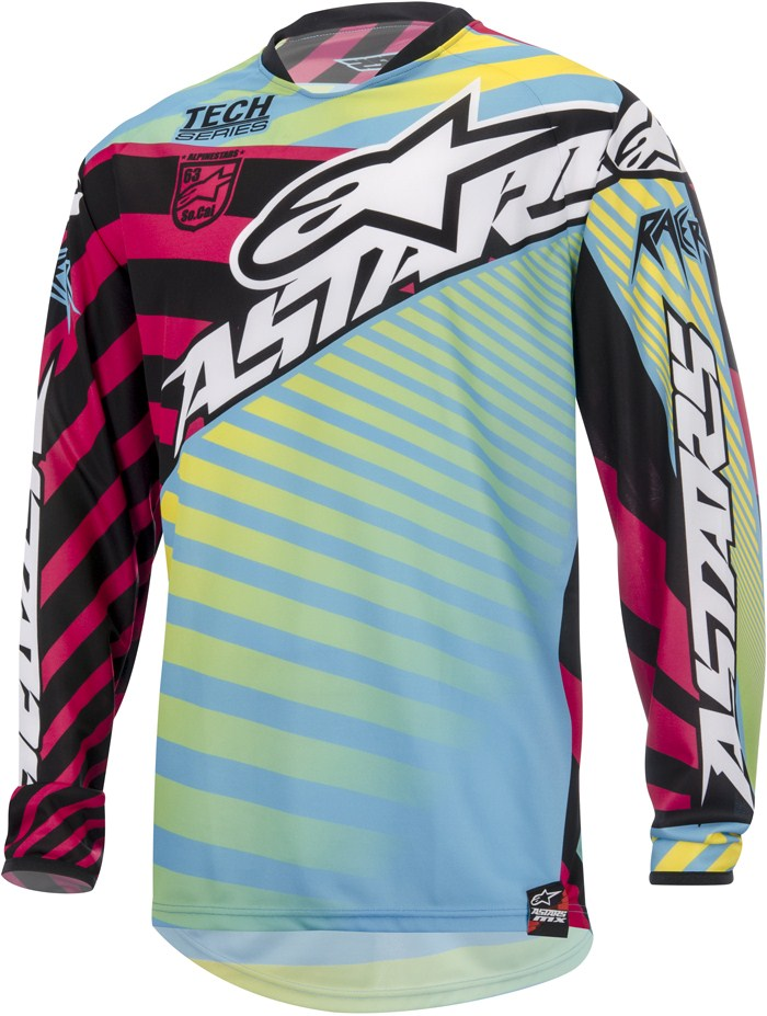 Alpinestars Racer Braap cross jersey Yellow Blue Magenta