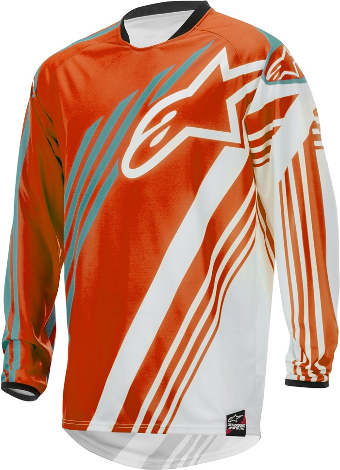 Maglia cross Alpinestars Racer Supermatic Arancio Bianco Teal