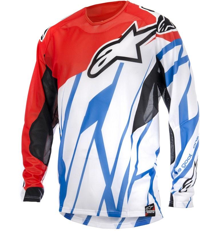 Maglia cross Alpinestars Techstar Vented Rosso Bianco Blu