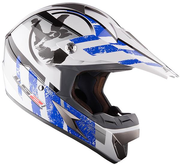 Casco cross LS2 MX433 Stripe Bianco Blu