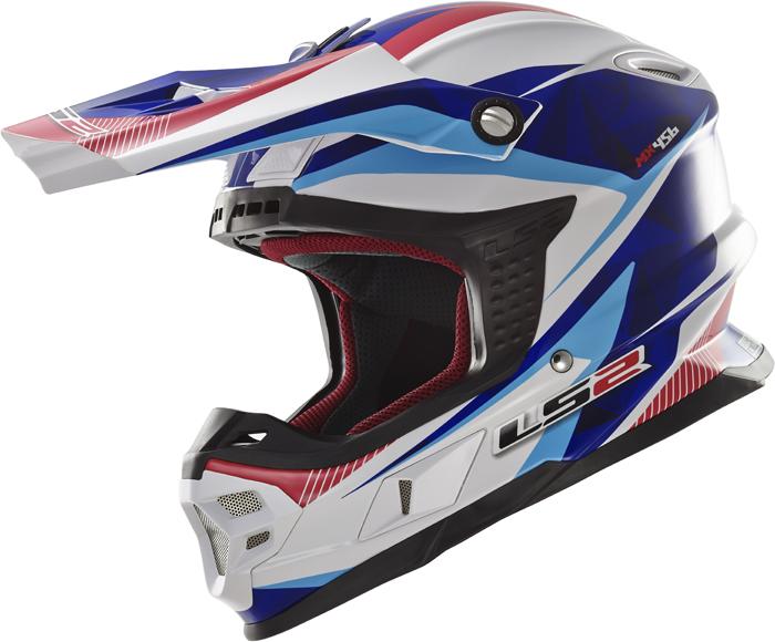 Ls2 MX456 Light Quartz cross helmet White Blue Red