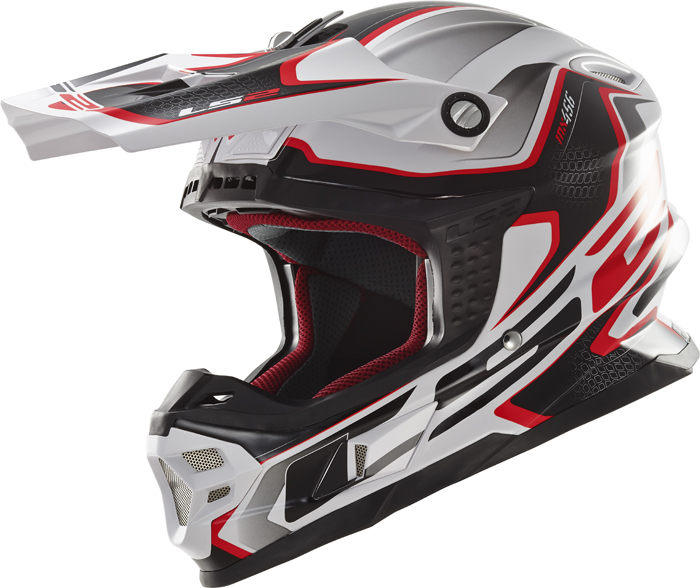 Ls2 MX456 Light Compass cross helmet White Red