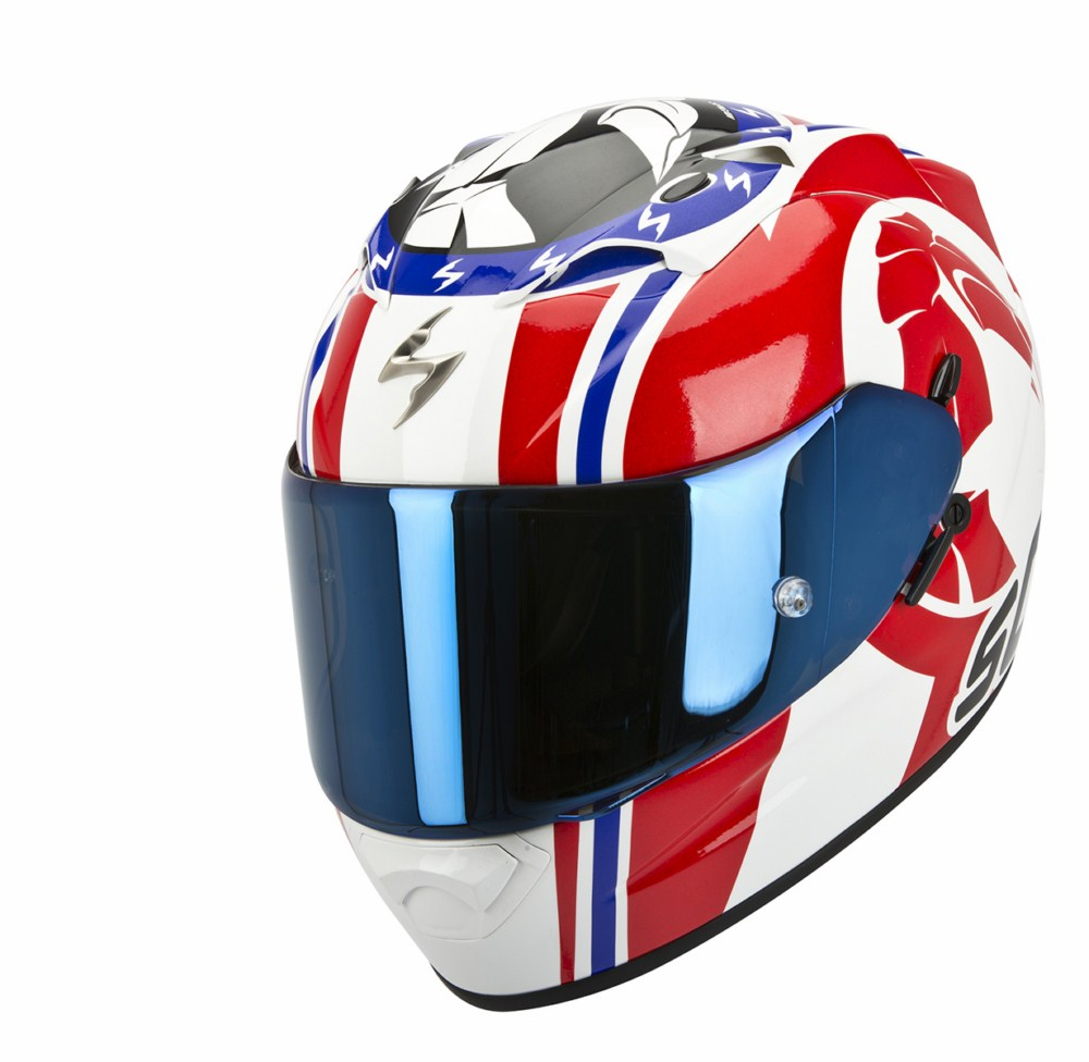 Scorpion Exo 1200 Air Stinger full face helmet white red blue
