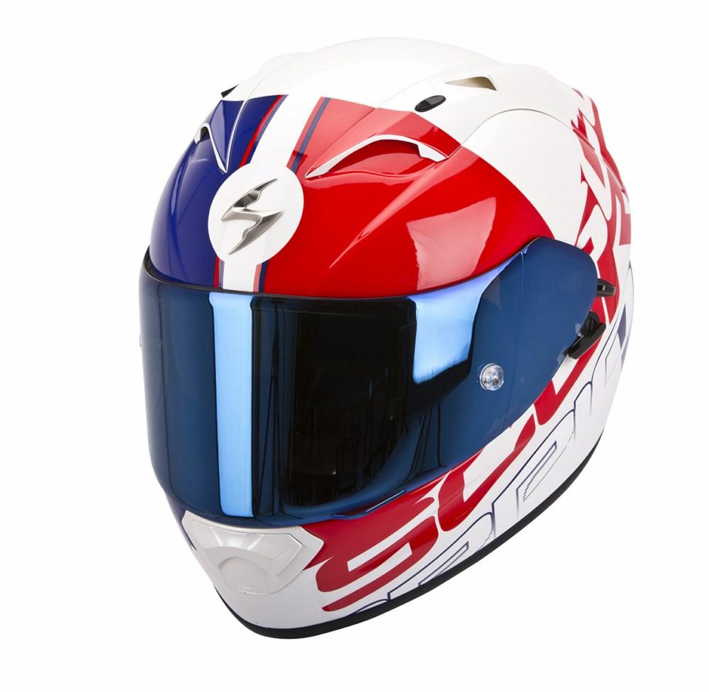 Scorpion Exo 1200 Air Quarterback full face helmet white red blu