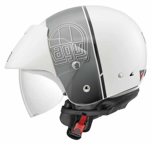 Agv Bali II Multi Stripe jet helmet white-gunmetal