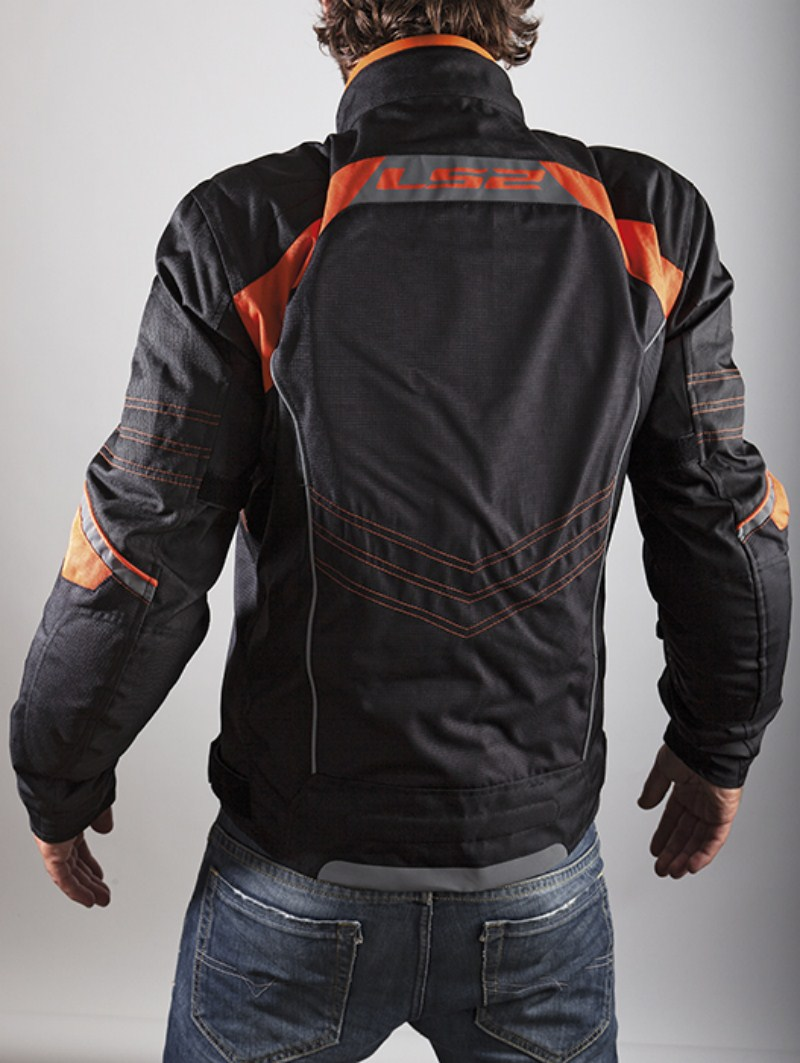 LS2 Motorcycle Jacket Orange Black Lagoon