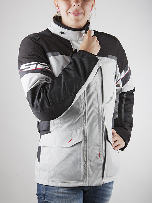 LS2 motorcycle jacket woman Tundra Black Light Grey