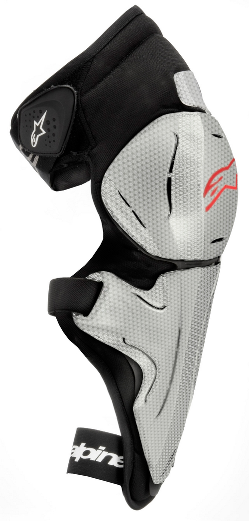 Ginocchiere moto Alpinestars Bionic SX argento-rosso-nero