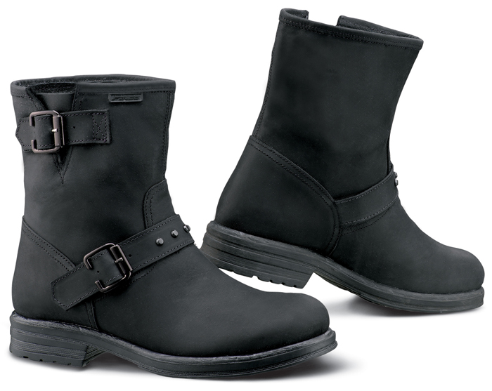 Woman leather motorcycle boots Dany Black Falco