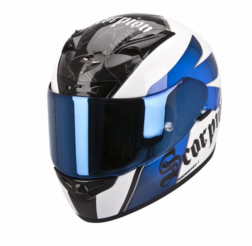 Scorpion Exo 710 Air Knight full face helmet white blue