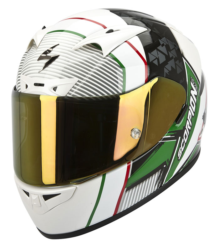 Casco integrale Scorpion Exo 710 Air Crystal bianco verde rosso