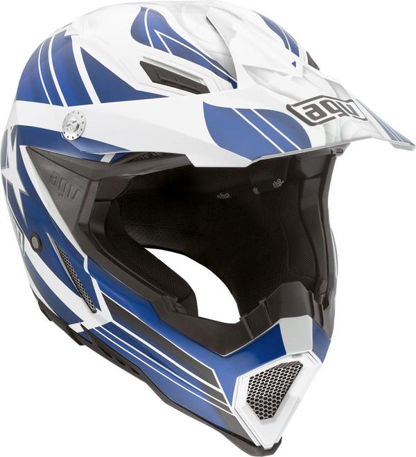 Agv AX-8 Evo Multi Flagstar off-road helmet white-blue