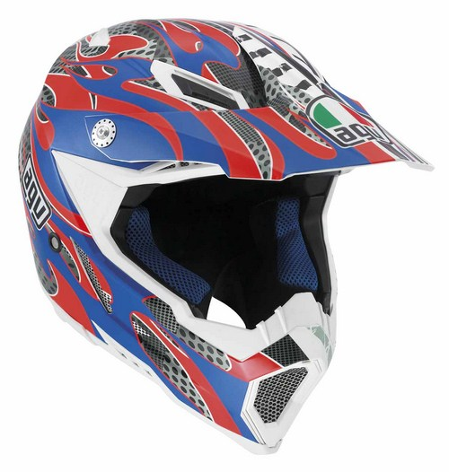 Agv AX-8 Evo Multi Flame off-road helmet red-blue