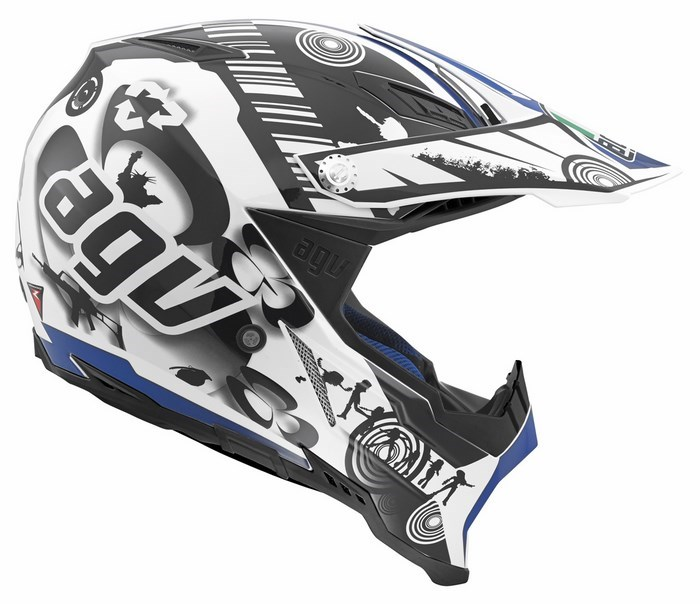 Casco moto off-road Agv AX-8 Evo Multi Cool bianco nero blu