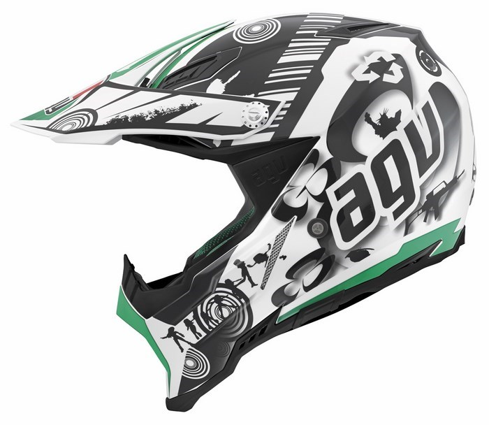 Casco moto off-road Agv AX-8 Evo Multi Cool bianco nero verde