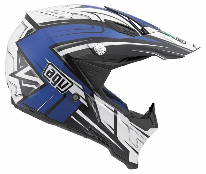 Casco moto off-road Agv AX-8 Evo Multi Factory nero bianco blu