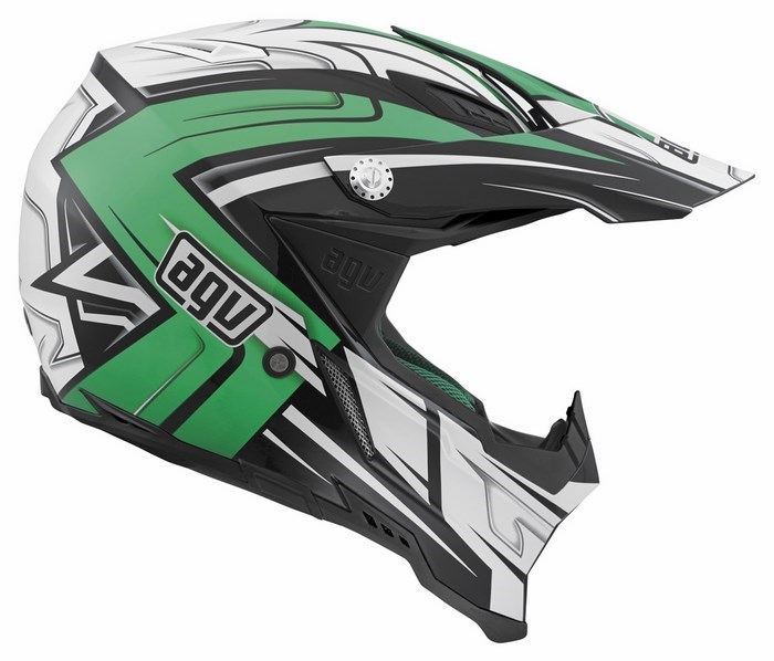 Casco moto off-road Agv AX-8 Evo Multi Factory nero bianco verde