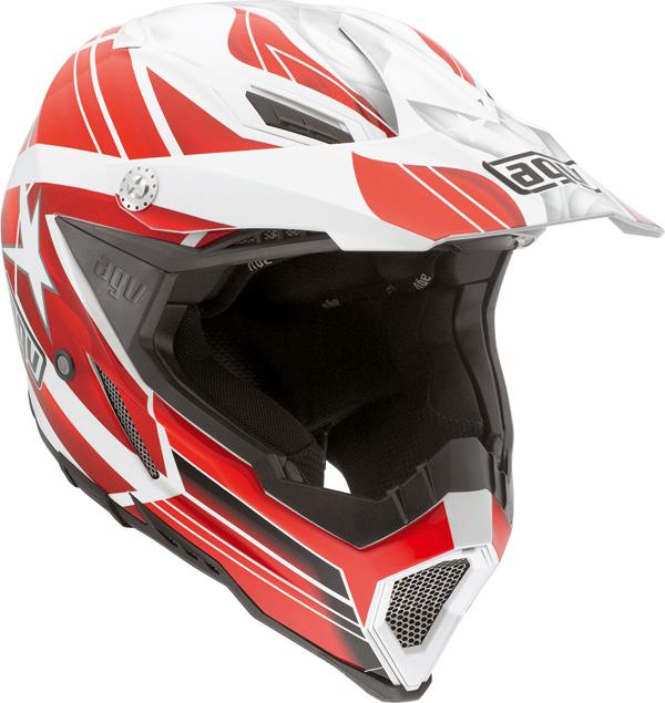Agv AX-8 Evo Multi Flagstar off-road helmet white-red