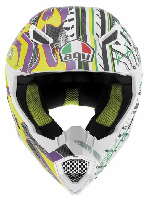 Agv AX-8 Evo Multi Flame off-road helmet yellow-violet