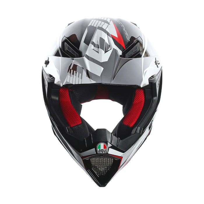 Agv AX-8 Carbon Multi Carbotech white red off-road helmet