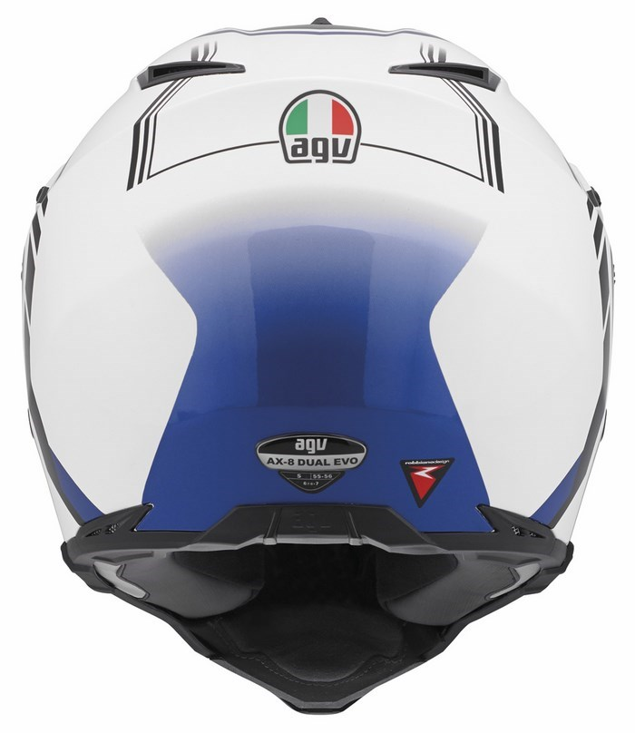 Agv AX-8 Dual Evo Multi GT offroad helmet white gunmetal blue