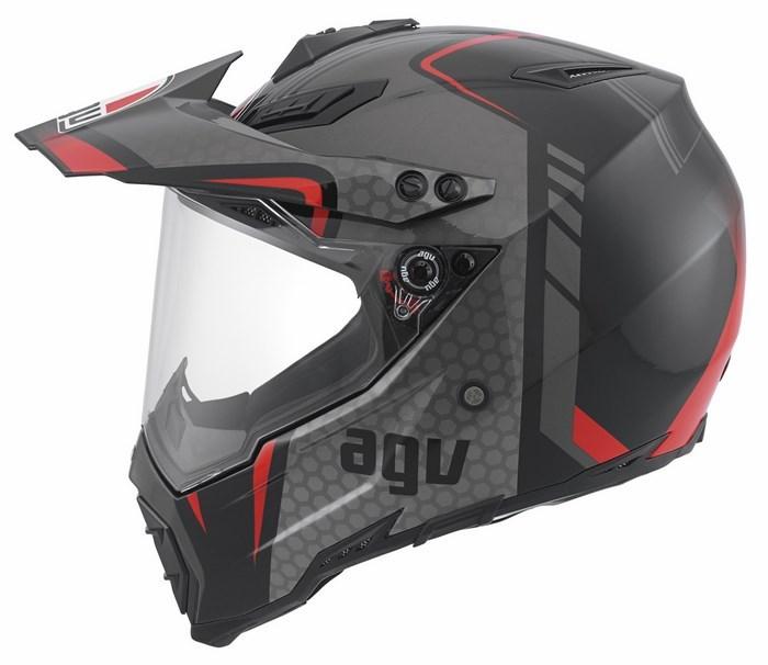 Agv AX-8 Dual Evo Multi GT offroad helmet black silver red