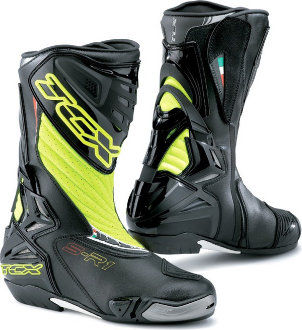Tcx Boots motorcycle racing S-R1 black-yellow fluo