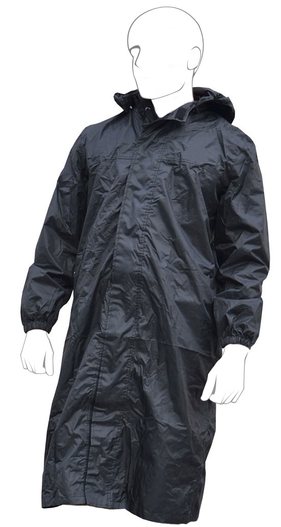 Long jacket with detachable hood rain One