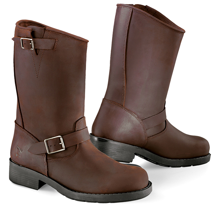 Brown leather motorcycle boots Brave Falco