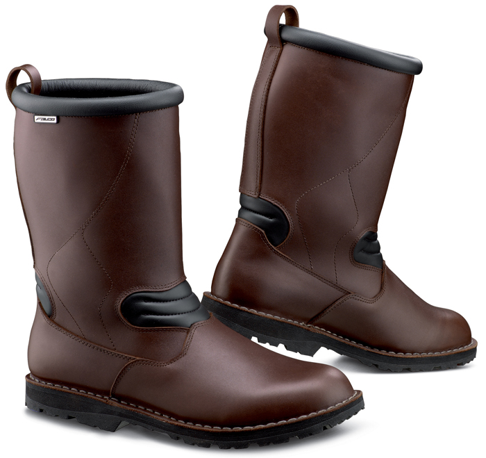 Frontier Falco Brown leather motorcycle boots