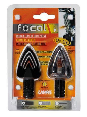 Pair of indicators Lampa Focal black glass White