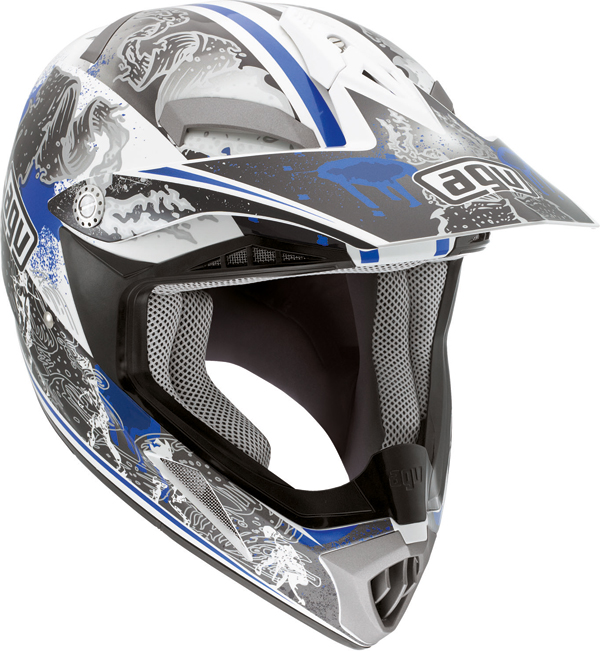 Casco moto cross Agv  MT-X Junior Multi Evolution bianco-blu
