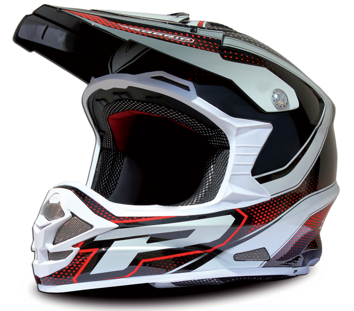 Cross Helmet Black Red Progrip tri compound