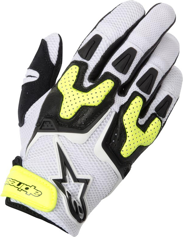Summer Motorcycle Gloves Alpinestars SMX-3 Air white black yell