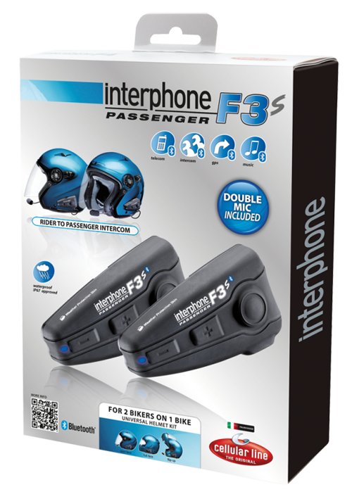 Cellular Line F3S Passenger Bluetooth Interphone for 2 helmets
