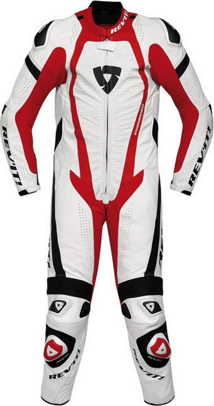 Tuta moto intera pelle Rev'it Stingray bianco-rosso