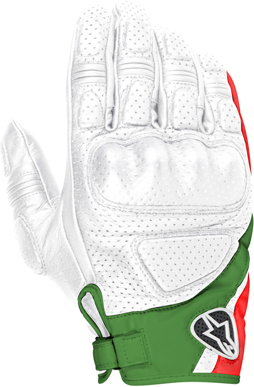 Alpinestars Mustang leather gloves white-red-green