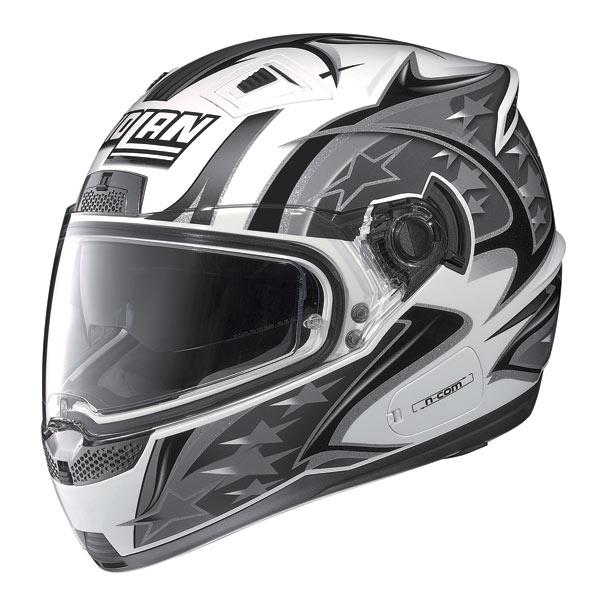 Casco moto Nolan N85 Fight N-com bianco-grigio