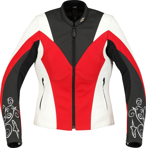 Alpinestars Stella Anouke leather women jacket white-red-black