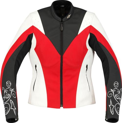 Giacca donna pelle Alpinestars Stella Anouke  bianco-rosso-nera