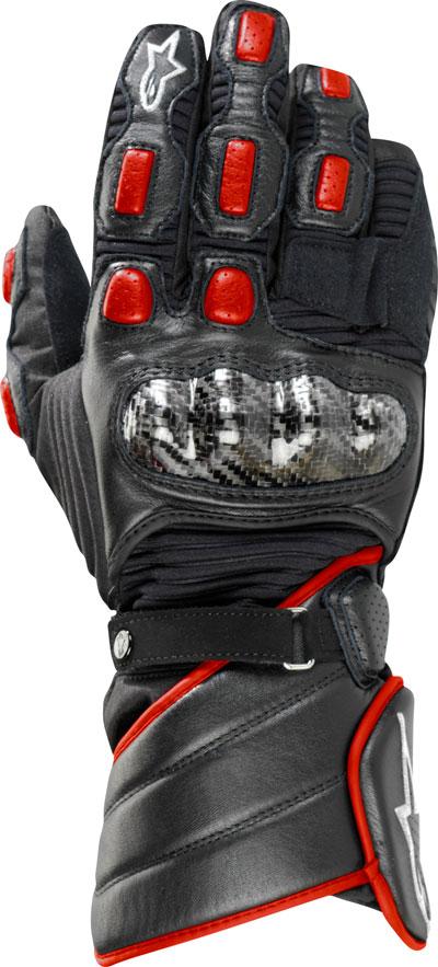 Guanti moto pelle Alpinestars Vega Drystar nero-rossi