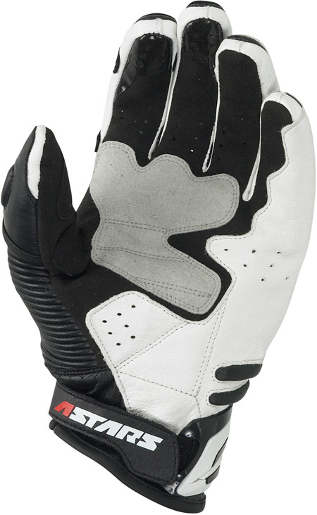 Guanti moto Alpinestars in pelle GPX bianco-neri