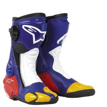 Alpinestars S-MX Plus motorcycle boots blue- yellow