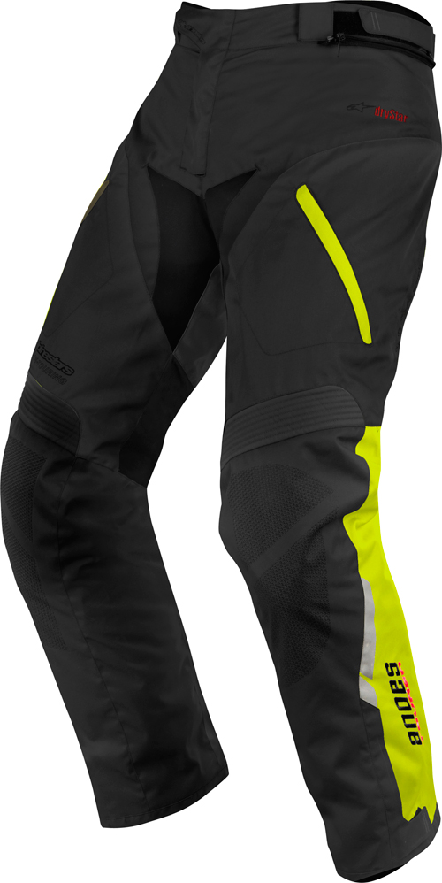 Alpinestars Andes Drystar motorcycle pants black-yellow fluo