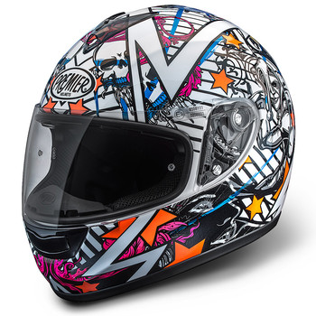 Full face helmet Premier Monza fiber white-orange-blue-fuchsia