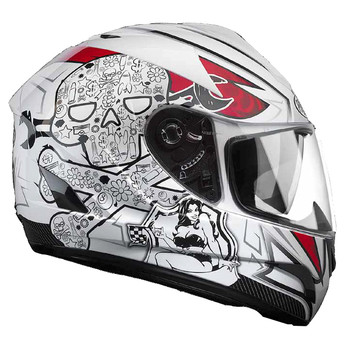 Full face helmet Premier phase double visor white skulls