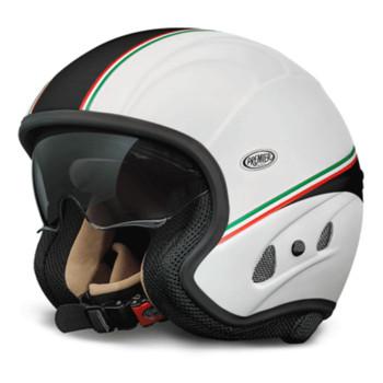 Casco moto jet Premier Free Evo visiera integrata bianco italia