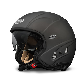 Motorcycle helmet jet Premier FREE EVO matte black with integrat