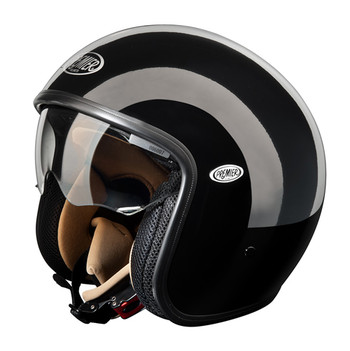 Motorcycle helmet jet Premier Vintage fiber with integrated viso
